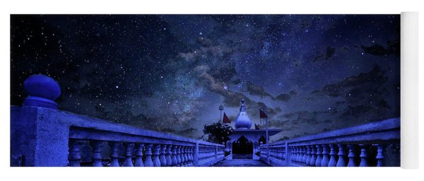 Night Sky Over The Temple Yoga Mat