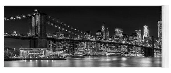 Night-skyline New York City Bw Yoga Mat