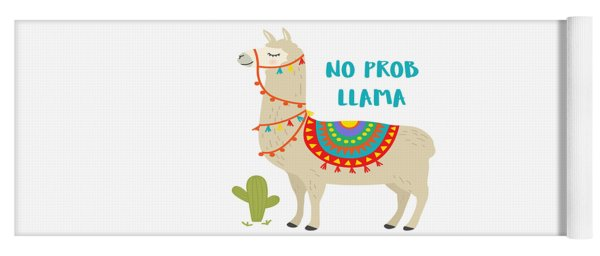 No Prob Llama - Baby Room Nursery Art Poster Print Yoga Mat