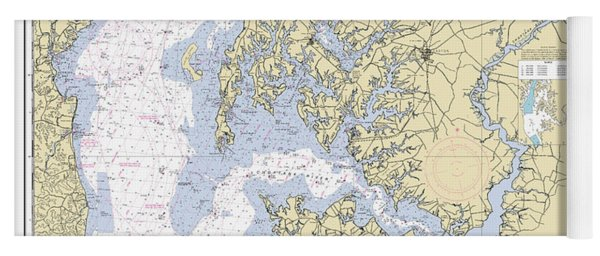 Chesapeake Bay, Cove Point To Sandy Point Nautical Chart 12263 Yoga Mat