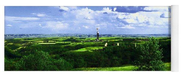 North Dakota Landscape And An Oil Rig Yoga Mat