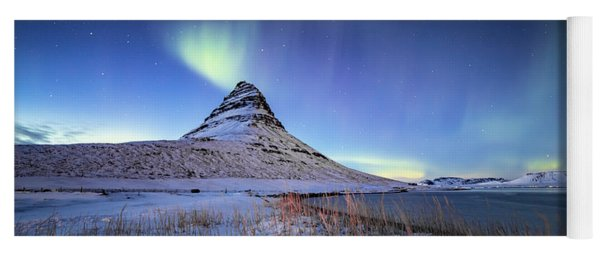 Northern Lights Atop Kirkjufell Iceland Yoga Mat