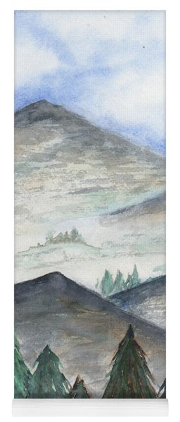 Yoga Mat featuring the painting November Mountains by Betsy Hackett