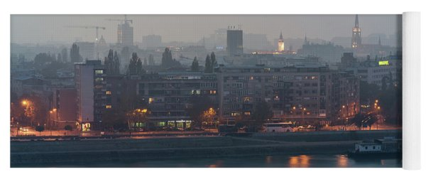 Novi Sad Night Cityscape Yoga Mat