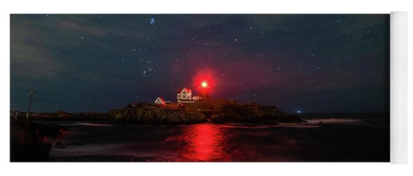 Nubble At Night In Pano Format Yoga Mat