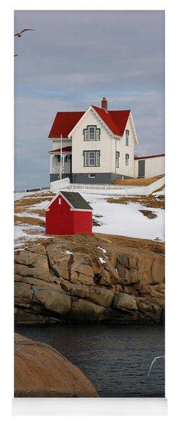 Nubble Light - Cape Neddick Lighthouse Seascape Landscape Rocky Coast Maine Yoga Mat