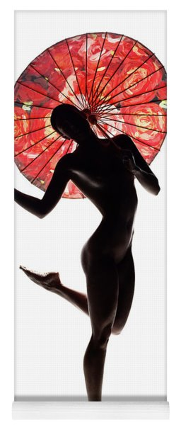 Nude Woman With Red Parasol Yoga Mat