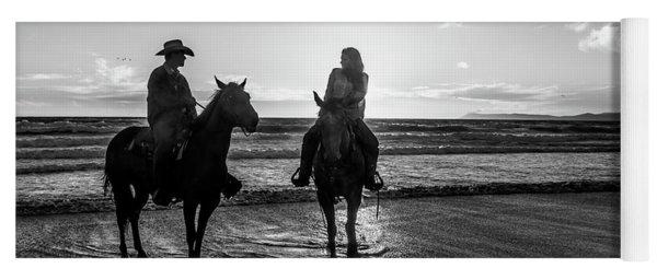 Ocean Sunset On Horseback Yoga Mat