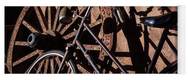 Old Bike And Wagon Wheel Yoga Mat