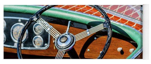 Old Boat Steering Wheel Yoga Mat