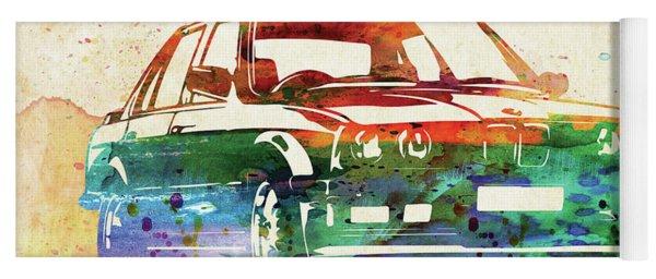 Old Ford Mustang Watercolor,  Yoga Mat