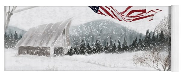 Old Glory In The Snow Yoga Mat
