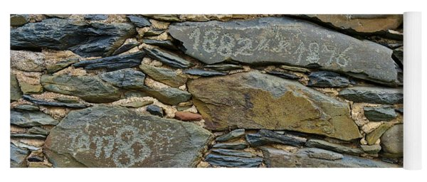 Old Schist Wall With Several Dates From 19th Century. Portugal Yoga Mat