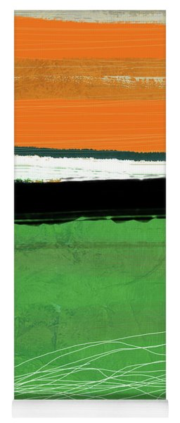 Orange And Green Abstract I Yoga Mat