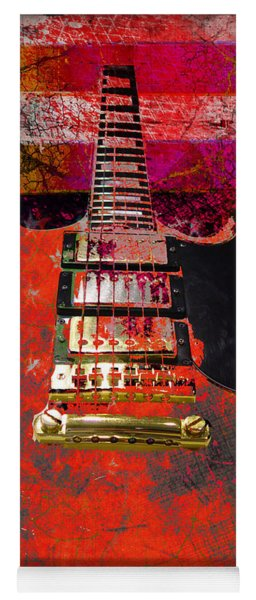 Orange Electric Guitar And American Flag Yoga Mat