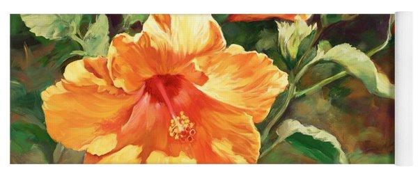 Orange Hibiscus Yoga Mat