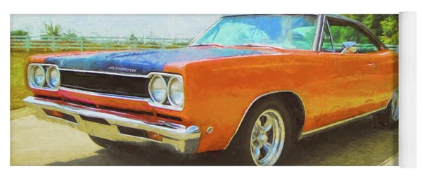 Orange Plymouth Muscle Car Yoga Mat