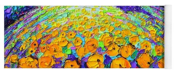 Orange Poppies Roundscape Mystic Pink Night Textural Impasto Knife Oil Painting Ana Maria Edulescu Yoga Mat