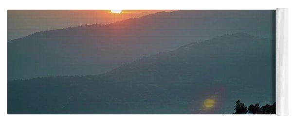 Orange Sunrise Above Mountain In Valley Himalayas Mountains Yoga Mat