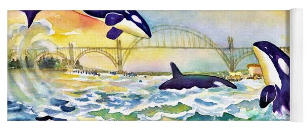 Orcas In Yaquina Bay Yoga Mat