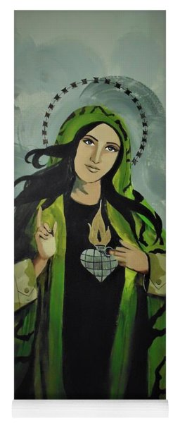 Yoga Mat featuring the painting Our Lady Of Veteran Suicide by MB Dallocchio