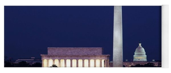 Our Treasured Washington Monuments At Night. Original Image From Carol M. Highsmith V2 Yoga Mat