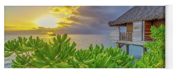 Over The Water Bungalow Tahiti French Polynesia Yoga Mat