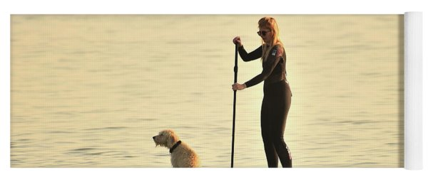 Paddleboarding With Her Dog Yoga Mat