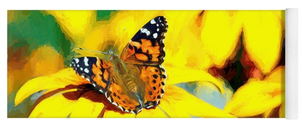Painted Lady Butterfly Van Gogh Yoga Mat