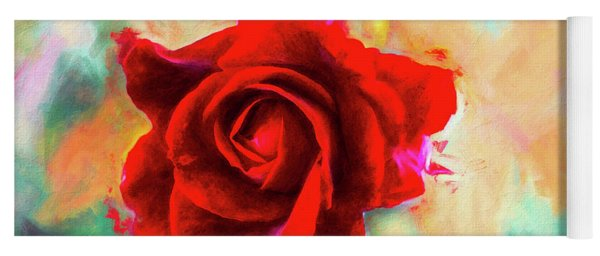 Painted Rose On Colorful Stucco Yoga Mat