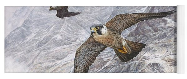 Pair Of Peregrine Falcons In Flight Yoga Mat