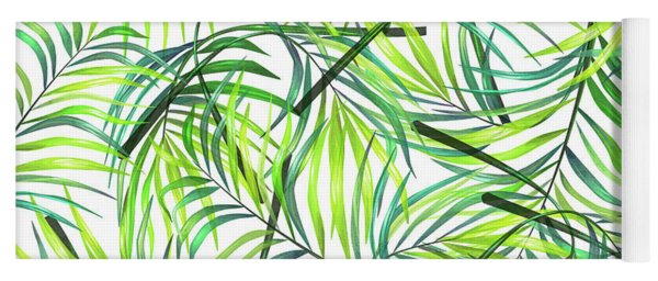 Palm Leaf Pattern 1 - Tropical Leaf Pattern - Green, White - Tropical, Botanical Pattern Design Yoga Mat