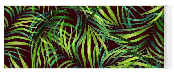 Palm Leaf Pattern 2 - Tropical Leaf Pattern - Green, Black - Tropical, Botanical Pattern Design Yoga Mat