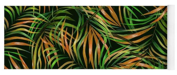 Palm Leaf Pattern 3 - Tropical Leaf Pattern - Green, Orange - Tropical, Botanical Pattern Design Yoga Mat