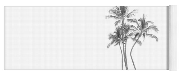 Palm Tree Cluster In Black And White Yoga Mat