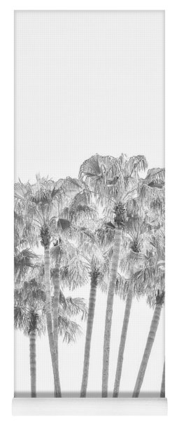 Palm Tree Grove In Black And White Yoga Mat