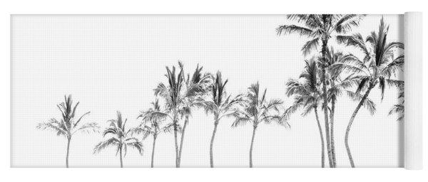 Palm Tree Horizon In Black And White Yoga Mat