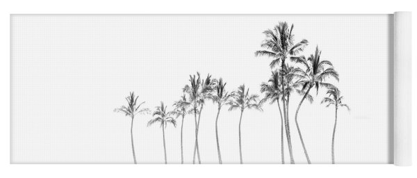 Palm Tree Horizon In Black And White Yoga Mat