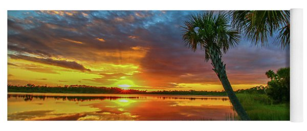 Yoga Mat featuring the photograph Palm Tree Sunset by Tom Claud