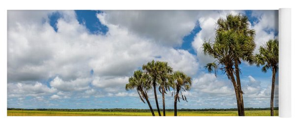 Palm Trees In The Field Of Coreopsis Yoga Mat