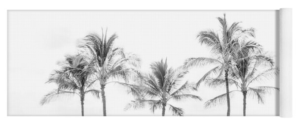 Palm Trees On The Beach In Black And White Yoga Mat