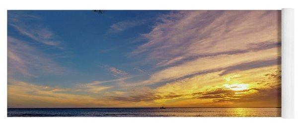 Palm Wave Sunset Yoga Mat