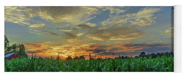 Panoramic Cornfield Sunset Yoga Mat