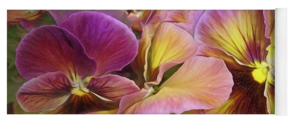 Pansy Field In Violet And Yellow 12 Yoga Mat