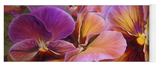 Pansy Field In Violet And Yellow 6 Yoga Mat