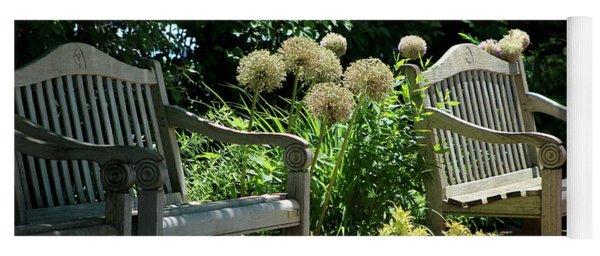 Park Benches At Chicago Botanical Gardens Yoga Mat