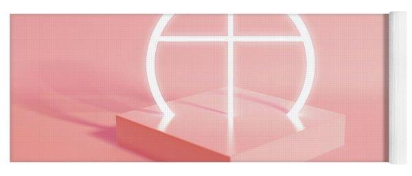 Pastel Geometry And Illuminated Crucifix Yoga Mat