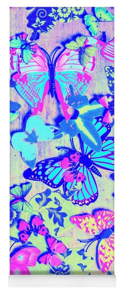Pastel Wings And Button Butterflies Yoga Mat