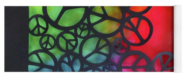 Yoga Mat featuring the mixed media Peace Out by Phyllis Howard