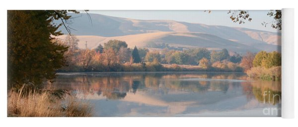 Peaceful Autumn River Panorama Yoga Mat